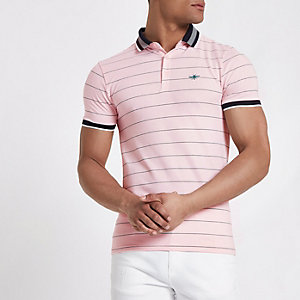 Pink stripe muscle fit polo shirt