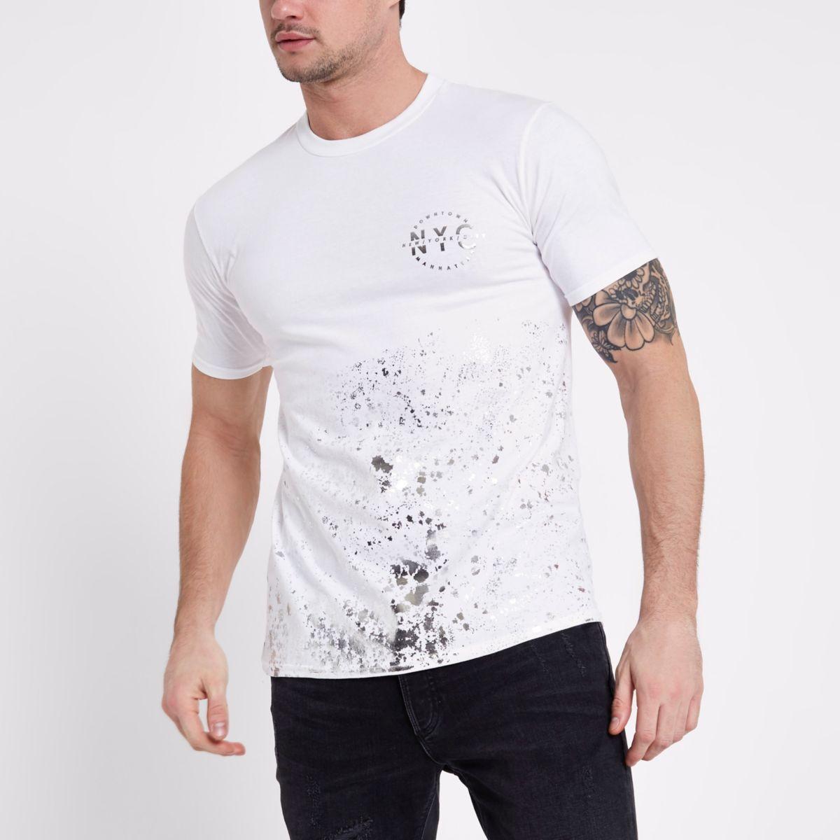 White 'NYC' paint splat T-shirt