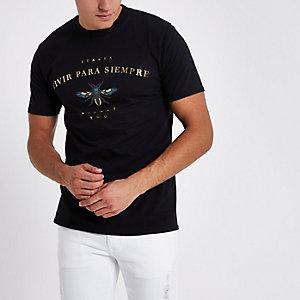 T-shirt manches courtes noir à imprimé guêpe
