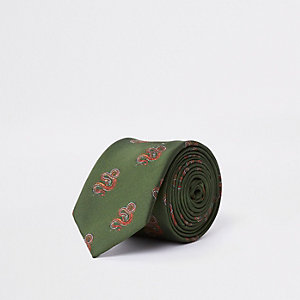 Grüne Krawatte in Schlangenlederoptik