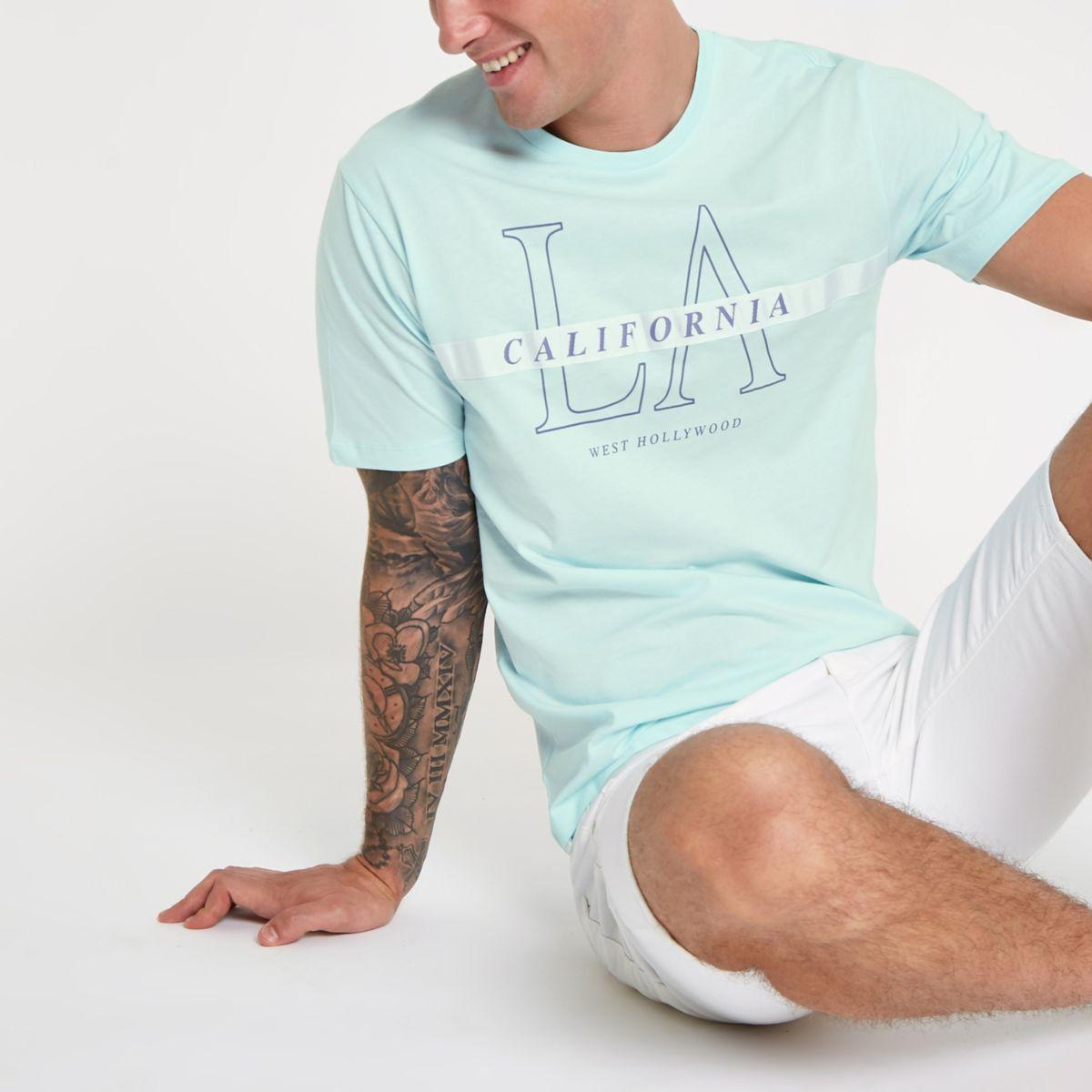 Light green ' California' tape T-shirt