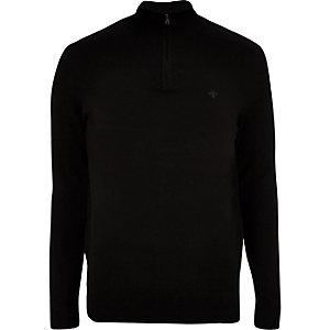 Zwarte slim-fit pullover met rits en opstaande kraag
