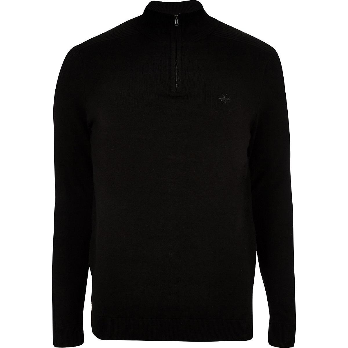 Black zip-up slim fit funnel neck jumper