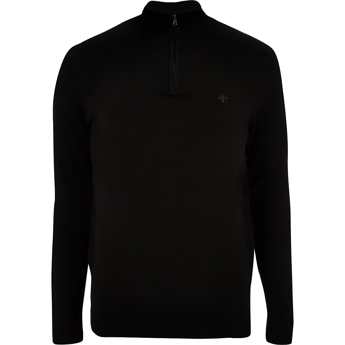 Black zip-up slim fit funnel neck sweater