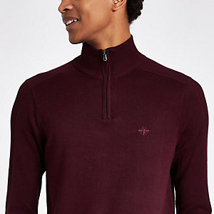 Dark red zip-up slim fit funnel neck sweater
