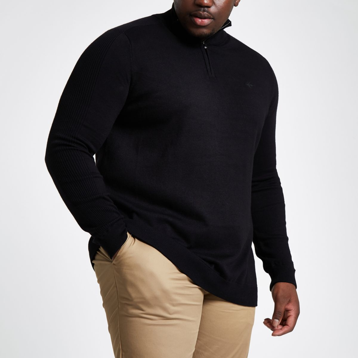 Big and Tall black knit zip up sweater