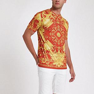 Rotes Slim Fit T-Shirt mit Barock-Print
