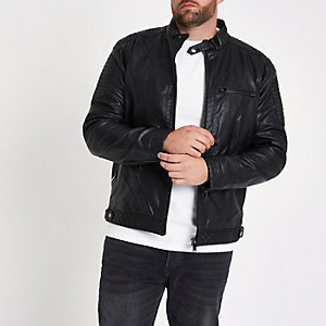 Big and Tall – Racer-Jacke aus Kunstleder