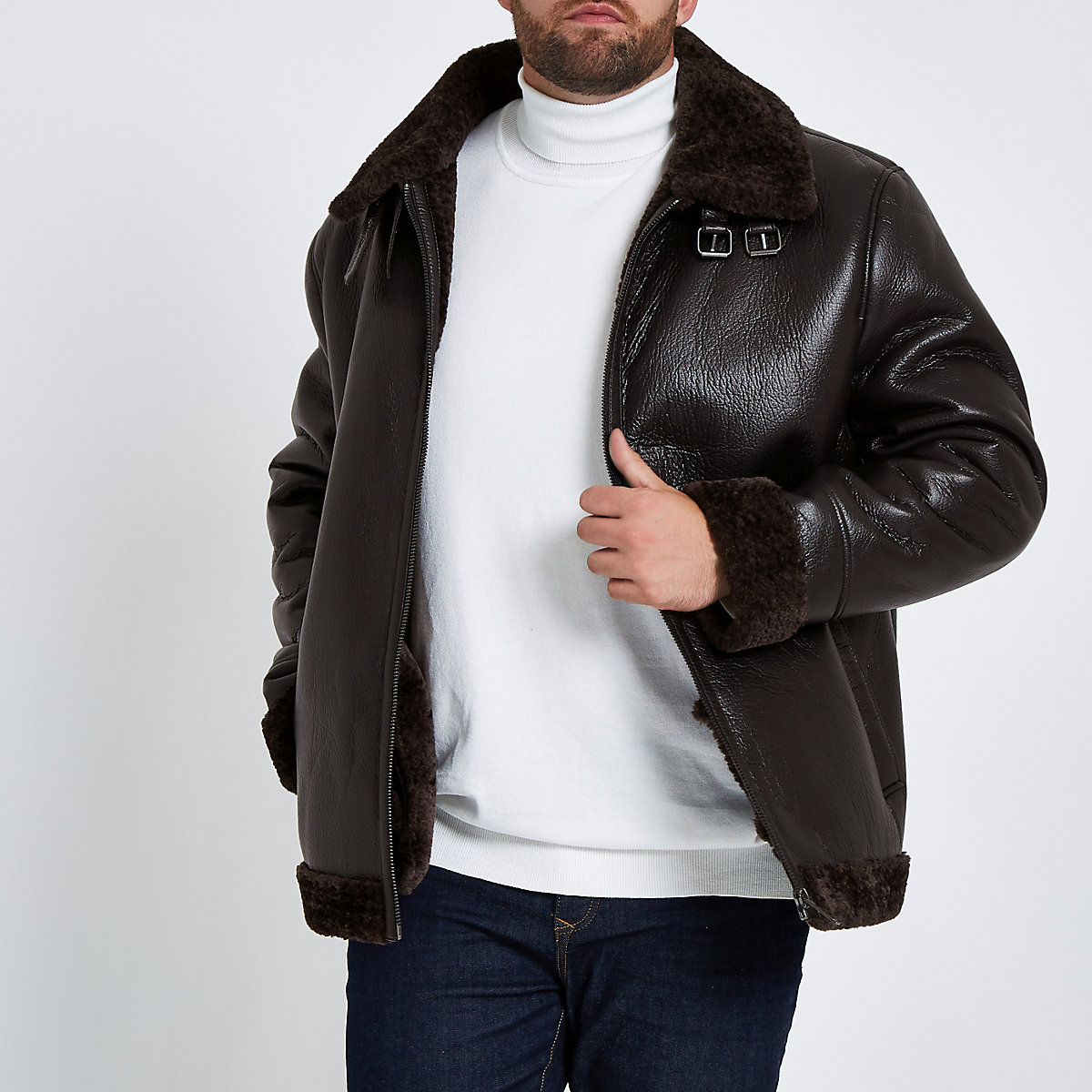 Big & Tall brown faux leather aviator jacket