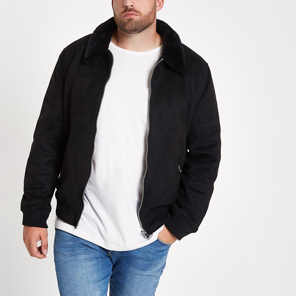 Big and Tall black faux furl collar jacket