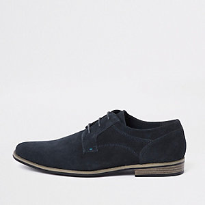 Navy suede lace-up derby shoes