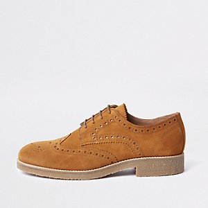 Brown suede contrast sole brogues