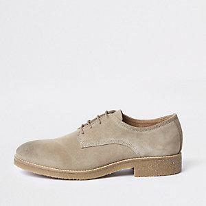 Steingraue Derby-Schuhe aus Wildleder