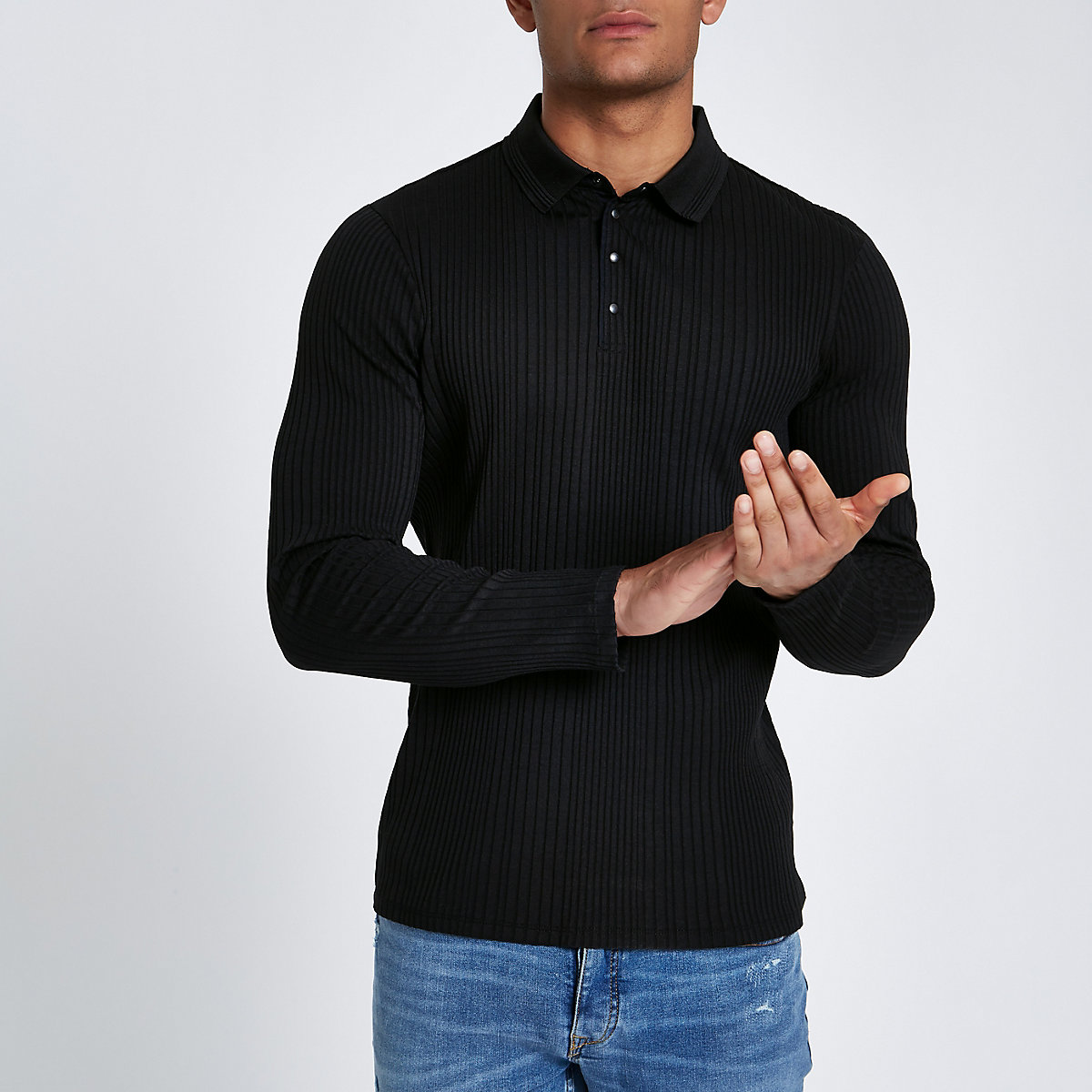 Black muscle fit chunky rib polo shirt