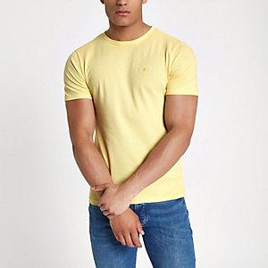 Gelbes Muscle Fit T-Shirt mit Rundhalsausschnitt