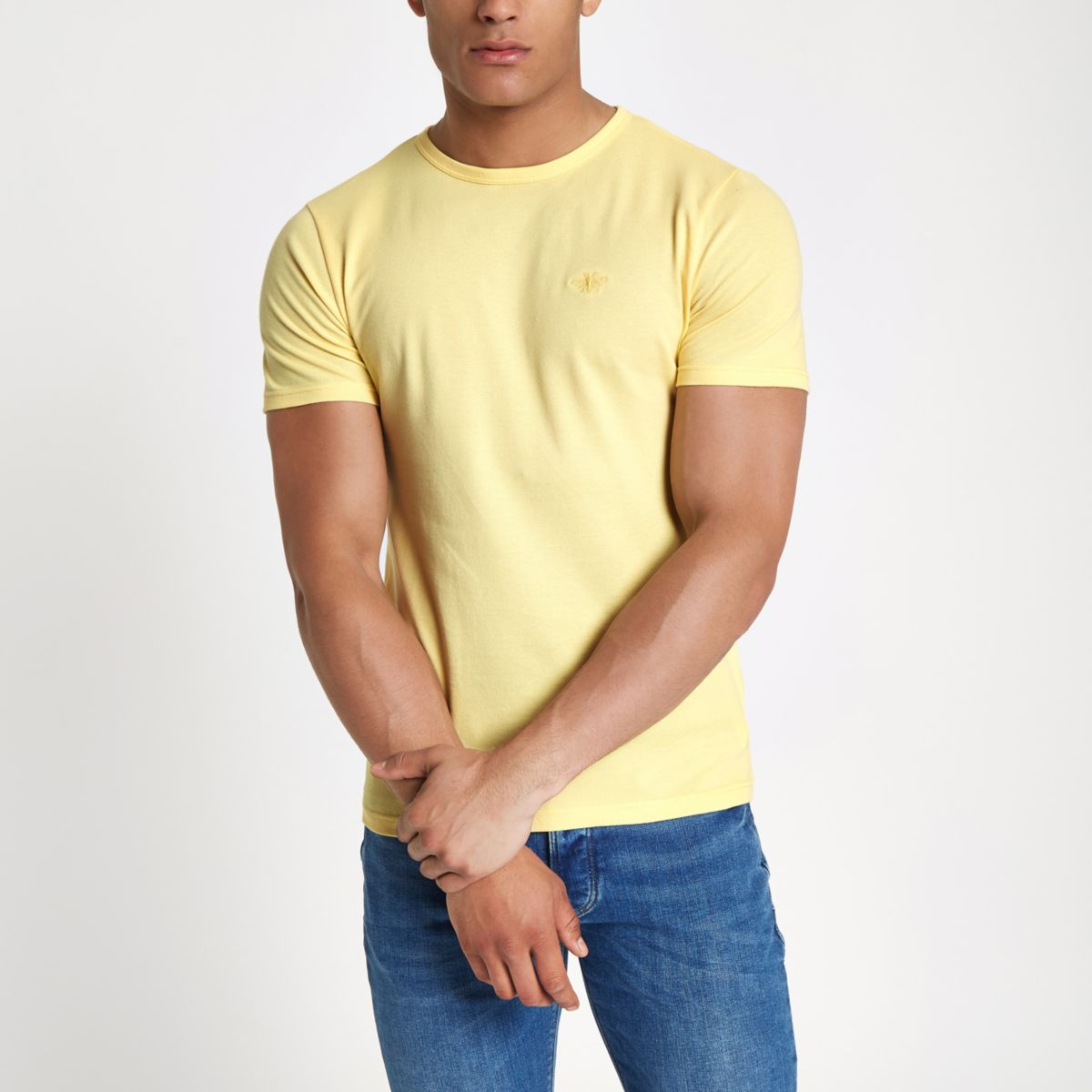Yellow muscle fit crew neck pique T-shirt