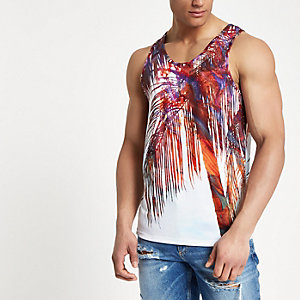 White palm print vest top