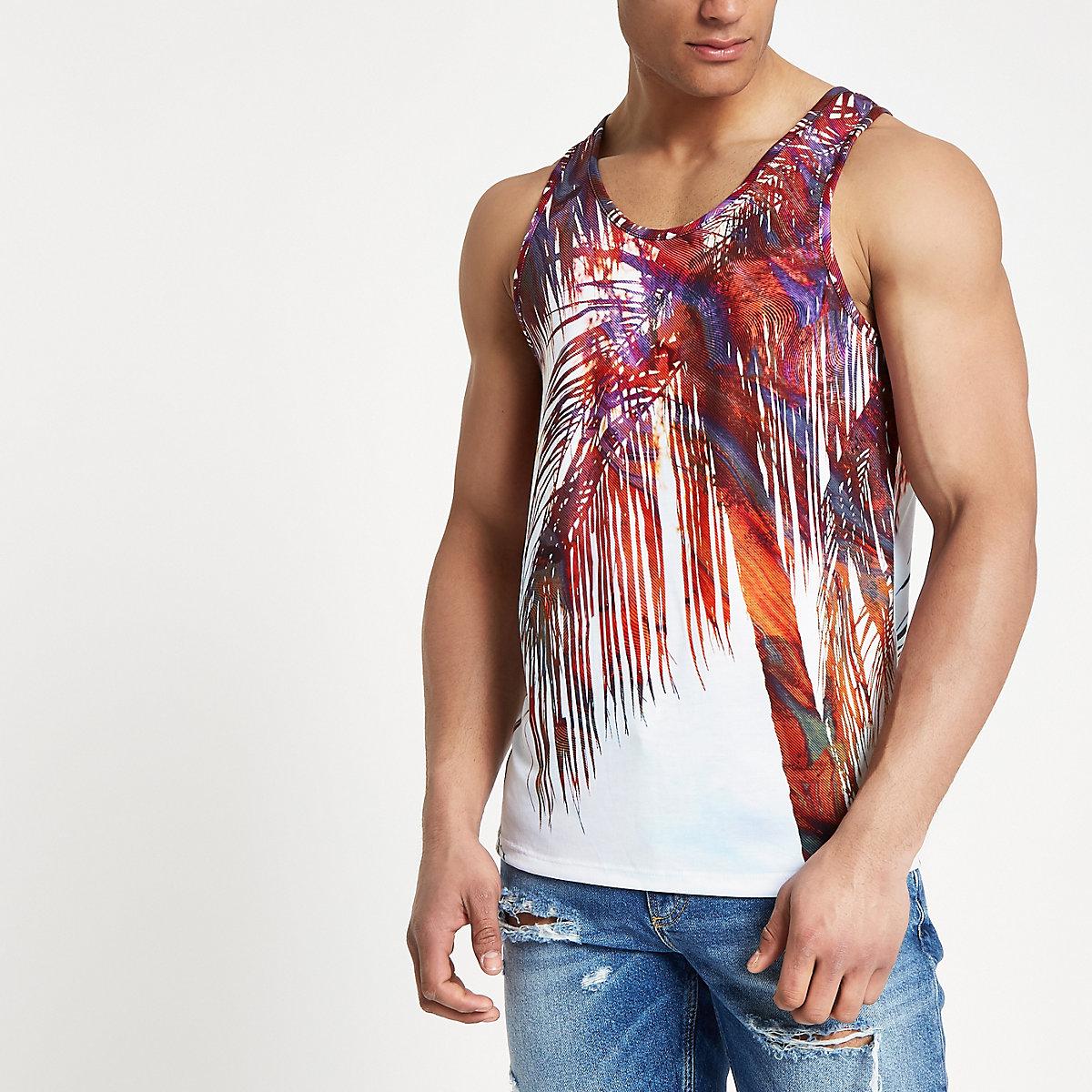 White palm print vest top