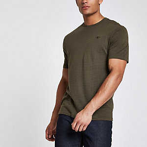 Khaki waffle slim fit short sleeve T-shirt