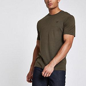 Kaki slim-fit T-shirt met korte mouwen en wafeldessin
