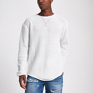 Ecru knit long sleeve slim fit sweater
