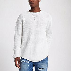 Ecru gebreide slim-fit pullover met lange mouwen