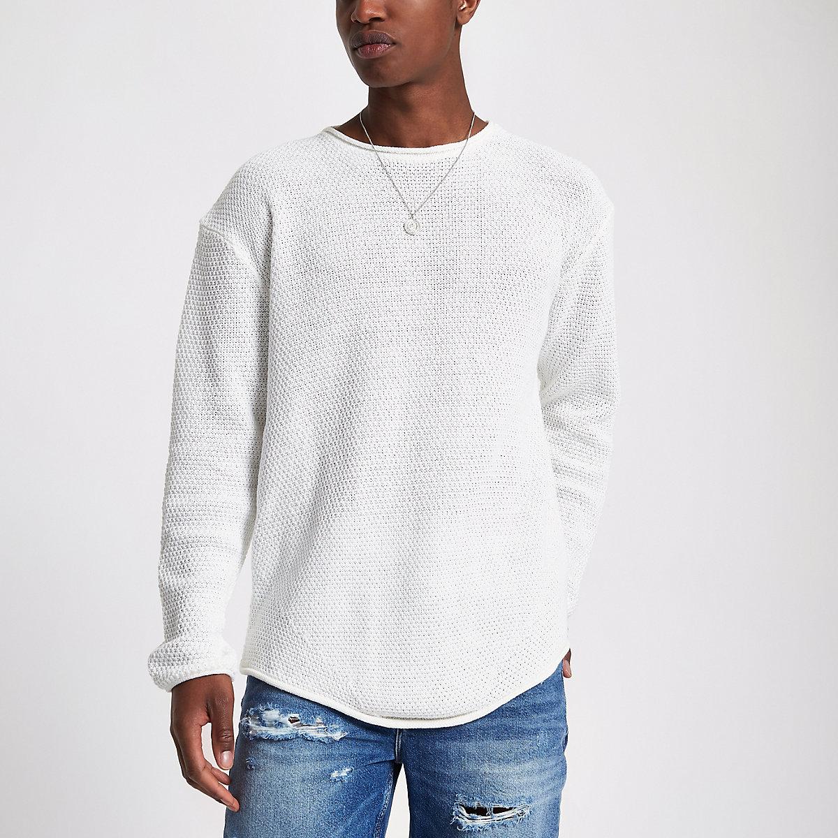 Ecru knit long sleeve slim fit sweater