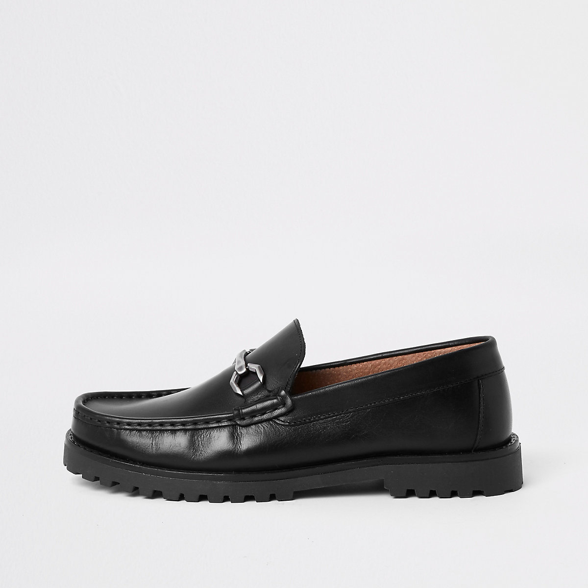 Black leather snaffle chunky sole loafer