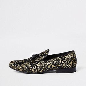 Zwarte en goudkleurige loafers met borduursel