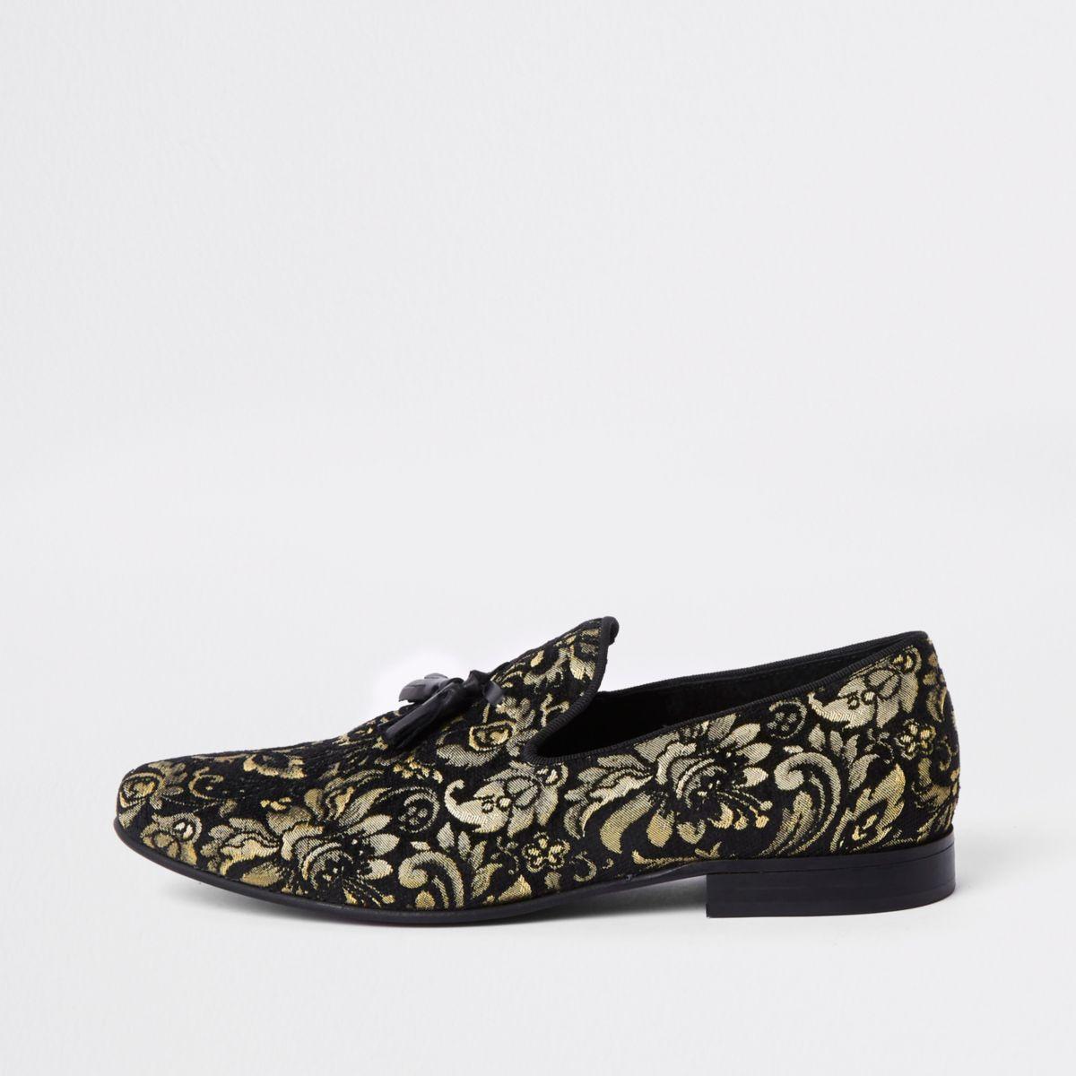 Black gold tone embroidered loafer