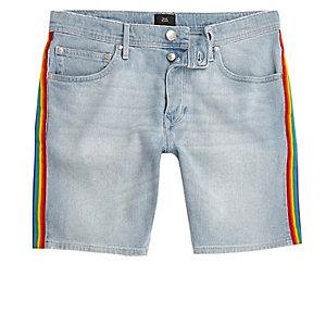 Pride – Sid – Blaue Skinny Fit Jeansshorts