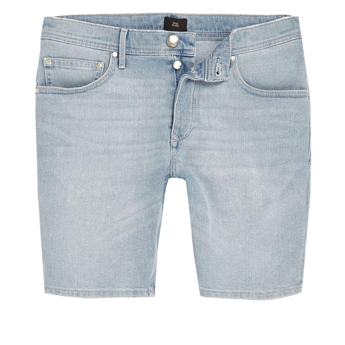 Light blue Sid skinny fit denim shorts