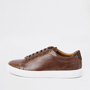 Brown leather lace-up trainers
