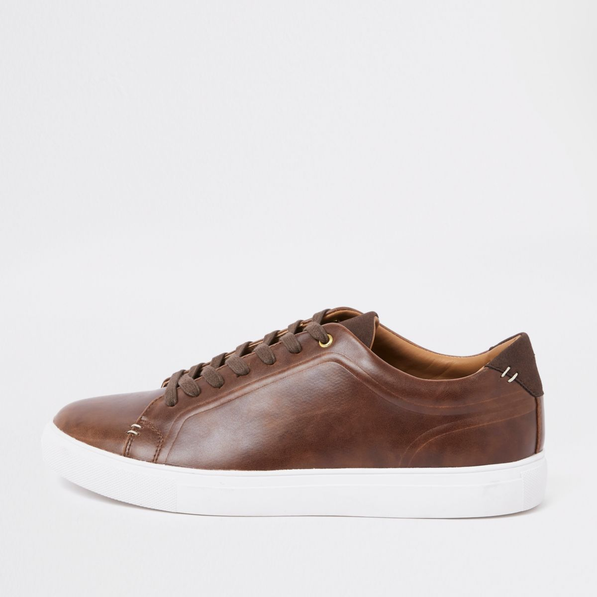 Brown faux leather lace-up trainers