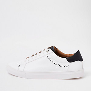 White brogue punching detail trainers