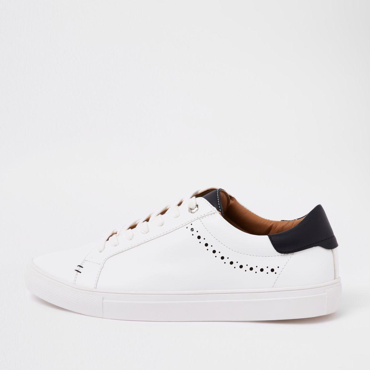 White brogue punching detail sneakers