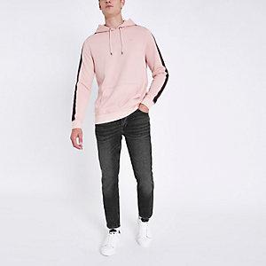 Jimmy - Zwarte distressed smaltoelopende jeans