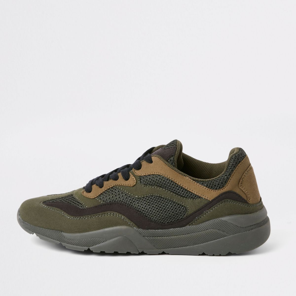 Khaki green runner lace-up trainers