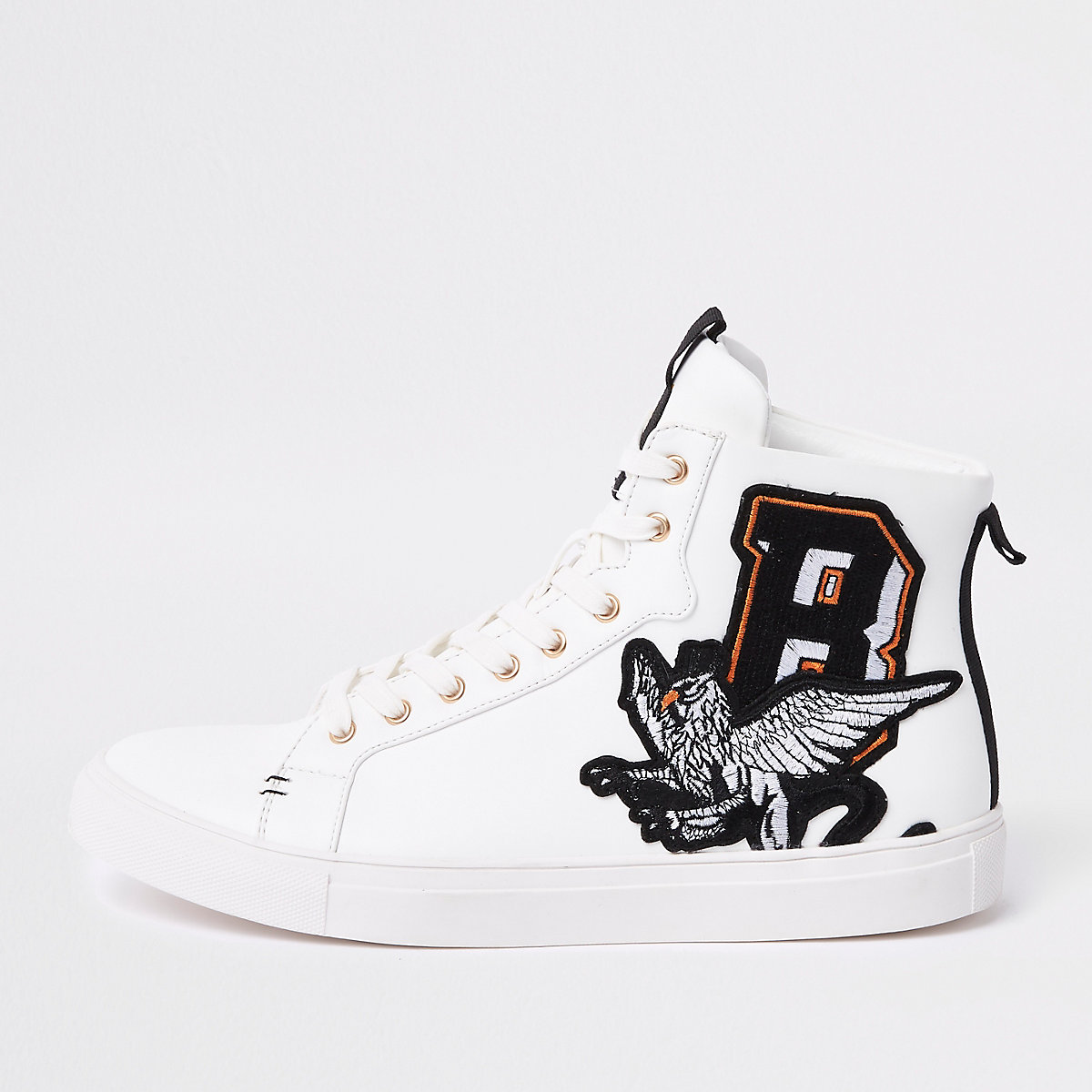 White embroidered high top trainers