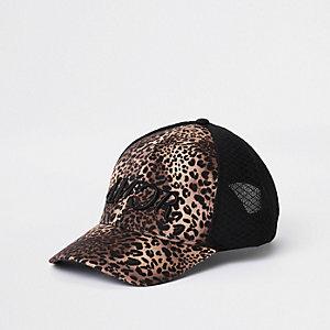 Black leopard print mesh baseball cap