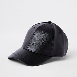 Black faux leather baseball cap