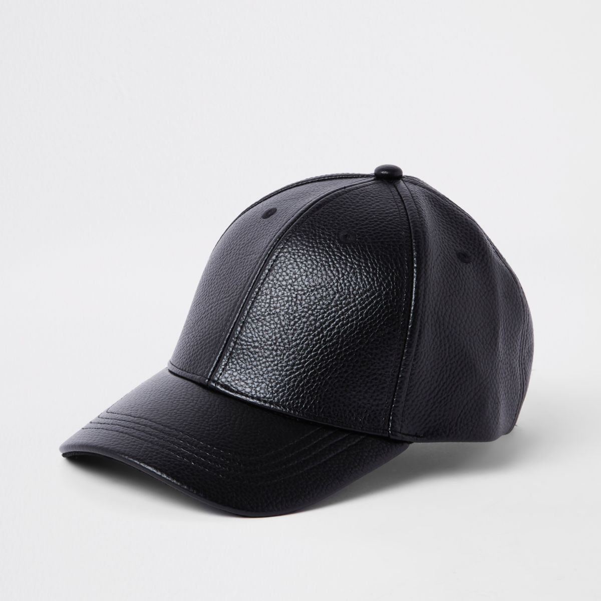 Black faux leather baseball cap