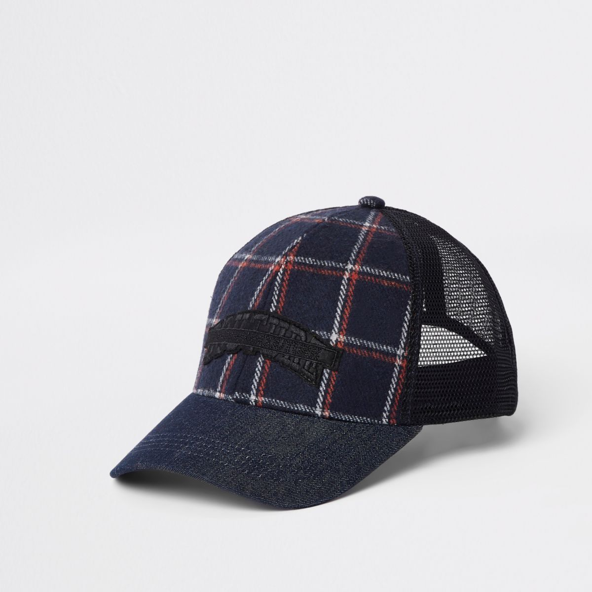 Navy check denim mesh baseball cap