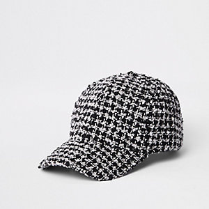 Black check houndstooth textured baseball cap