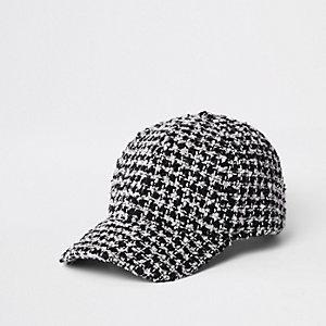 Casquette de baseball motif pied-de-poule noire texturée