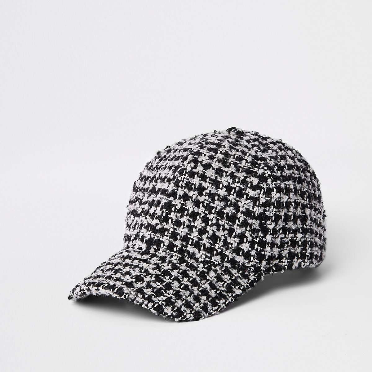Black check dogtooth textured baseball cap
