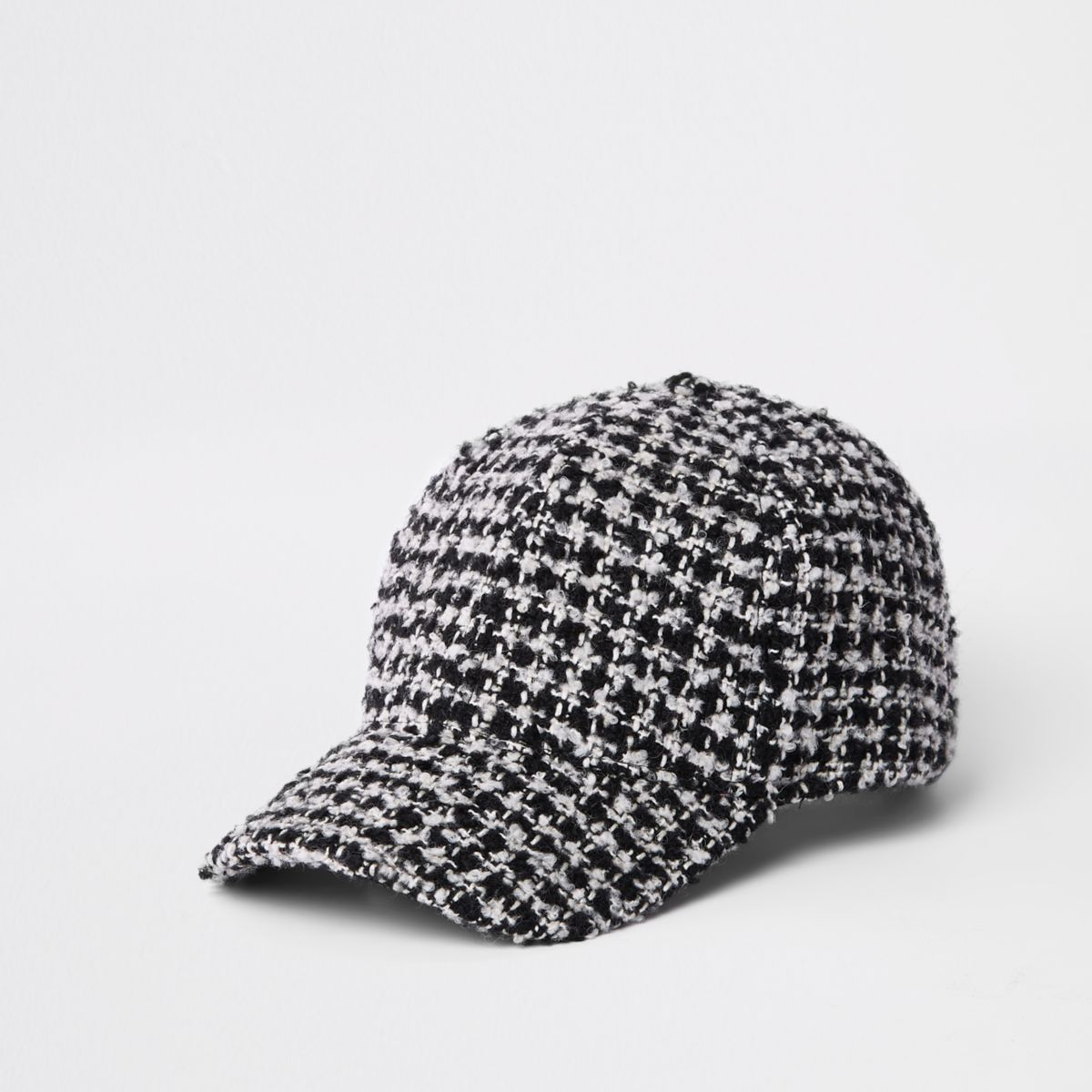 Black check dogtooth textured baseball cap