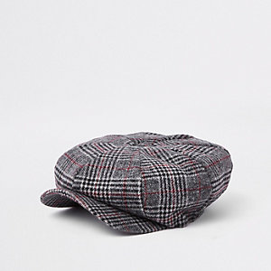 Grey check baker boy cap