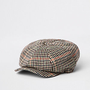 Light grey check quilted baker boy cap
