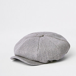 Light grey herringbone baker boy hat
